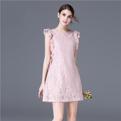 显瘦时尚无袖蕾丝连衣裙