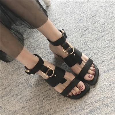 罗马黑色粗跟凉鞋