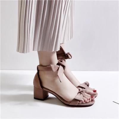 蝴蝶结纯色高跟凉鞋